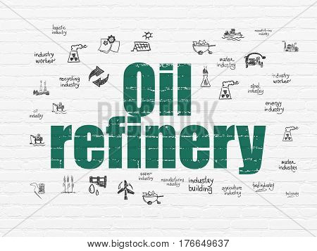 Industry concept: Painted green text Oil Refinery on White Brick wall background with  Hand Drawn Industry Icons