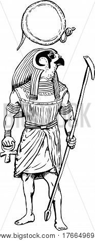 Outlined Egyptian God Rah