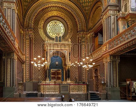 PRAGUE, CZECH REPUBLIC - MARCH 6 2017: Main altar of the Spanish Synagogue.   Spanish Synagogue was called for its impressive Moorish interior design. It is the latest synagogue in Prague Jewish Town