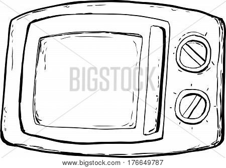 Outlined Microwave Oven With Closed Door