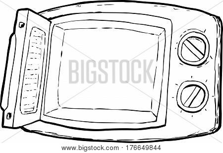 Outlined Open Microwave Oven Cartoon