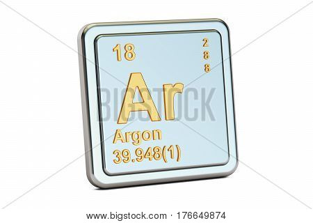 Argon Ar chemical element sign. 3D rendering isolated on white background