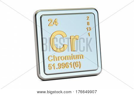 Chromium Cr chemical element sign. 3D rendering isolated on white background