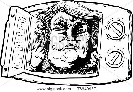 Outlined Donald Trump In A Microwave