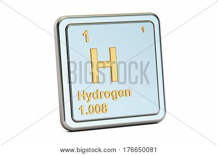 Hydrogen H chemical element sign. 3D rendering isolated on white background