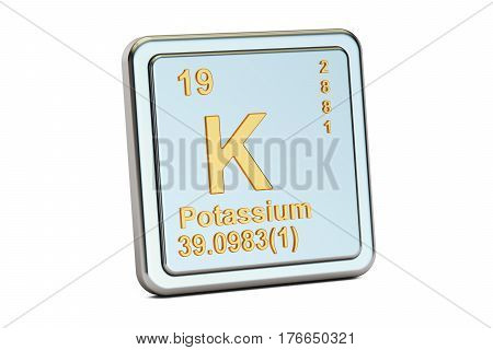 Potassium K chemical element sign. 3D rendering isolated on white background