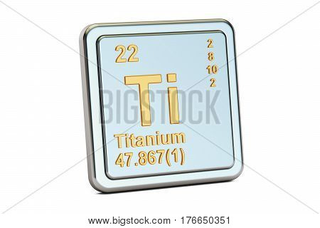 Titanium Ti chemical element sign. 3D rendering isolated on white background