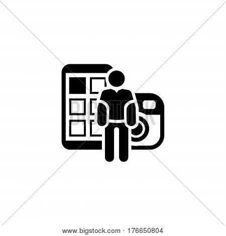 Blogger Icon. Flat Design. Isolated illustration with a silhouette of a man and a smartphone with a photo camera on the background