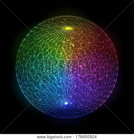 Bright Abstract Colorful Luminous Sphere on Dark Background. Decorative Design Element Neon Rainbow Globe of Various Colors with Glowing Particles.
