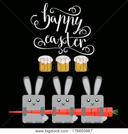 Easter vector bright illustration of happy Easter greeting card with Easter rabbit Easter carrot background