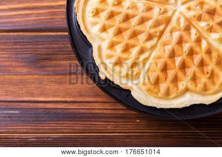 Homemade Heart Shaped Waffles In Iron Waffle Pan