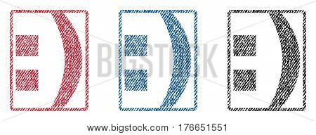 Colon text textile seal stamp watermarks. Blue, red, black fabric vectorized texture. Vector tag inside rounded rectangular banner. Rubber sign with fiber textile structure.