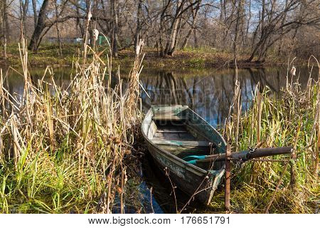 Old wooden boat with oars on the river bank among the sedge