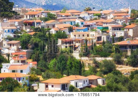 Ancient mountain village Lefkara Cyprus . Tourist destination. UNESCO world heritage list. Top view of the roofs of the houses