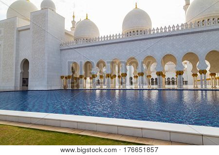 Sheikh Zayed Mosque Abu Dhabi UAE - famous tourist destination.