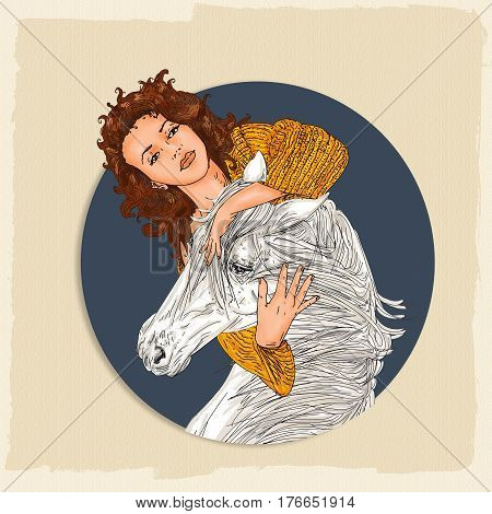 portrait of a woman and horse hugging, with blue background