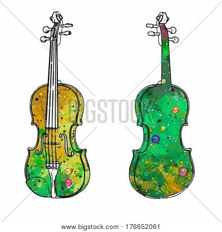 A violin painted with brush strokes and artistic violin temples