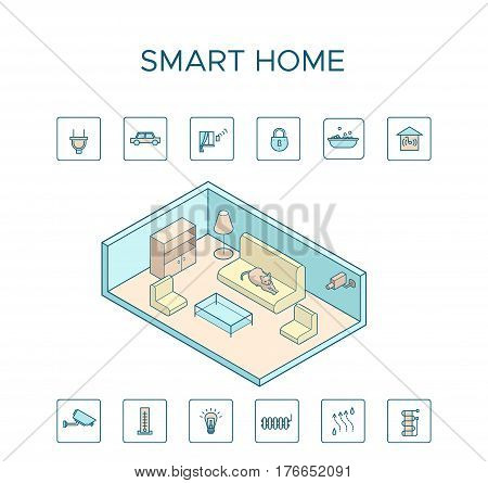Colorful smart home technology concept with bedroom interior and intelligent house settings and systems isolated vector illustration