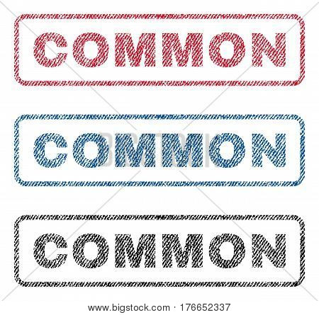 Common text textile seal stamp watermarks. Blue, red, black fabric vectorized texture. Vector caption inside rounded rectangular banner. Rubber sign with fiber textile structure.