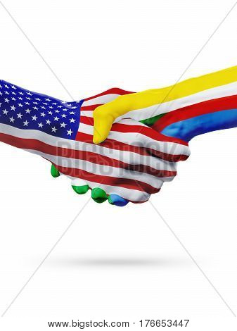 United States and Comoros countries flags handshake concept cooperation partnership friendship business deal or sports competition isolated on white