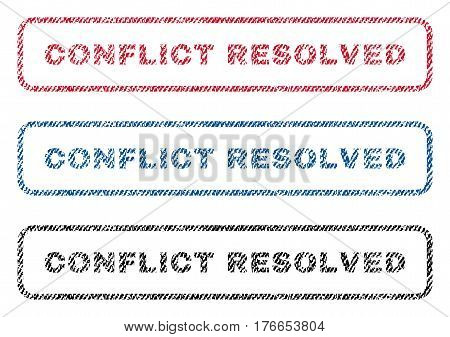Conflict Resolved text textile seal stamp watermarks. Blue, red, black fabric vectorized texture. Vector caption inside rounded rectangular shape. Rubber emblem with fiber textile structure.