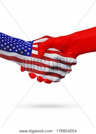 United States and Kyrgyzstan countries flags handshake concept cooperation partnership friendship business deal or sports competition isolated on white