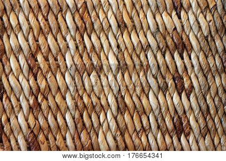 Closeup of a Brown Woven Basket with Diagonal Stripes