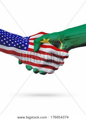United States and Mauritania countries flags handshake concept cooperation partnership friendship business deal or sports competition isolated on white