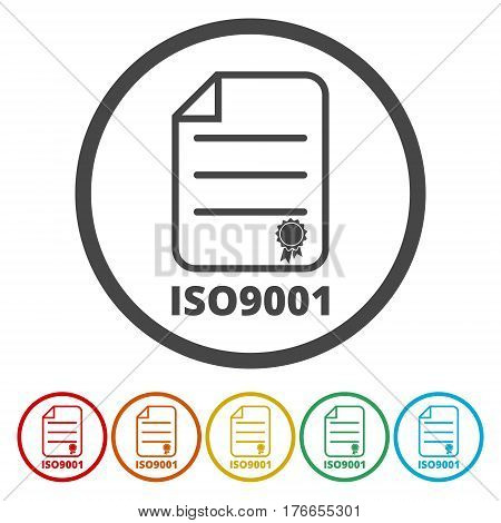 ISO 9001 certified sign icon on white background