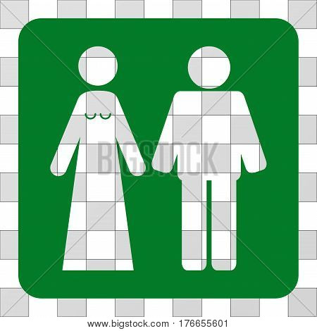 Married Groom And Bribe rounded icon. Vector pictogram style is a flat symbol perforation inside a rounded square shape, green color.