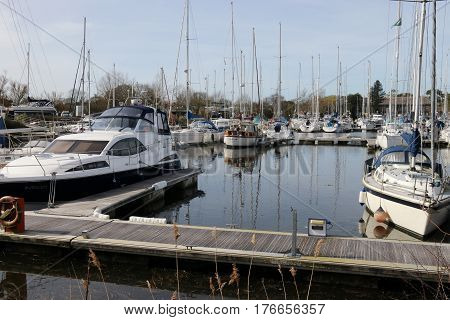 14TH MARCH 2017, CHICHESTER MARINA,ENGLAND: Yachts and pleasure craft moored in chichester marina in the uk, 14th march 2017