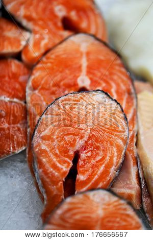 Large delicious chunks of red fish salmon photographed close up