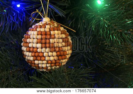 Balls, figurines and other ornaments that decorate New Year's (or Christmas) tree, as well as interior and exterior space for the Christmas holiday and New Year.