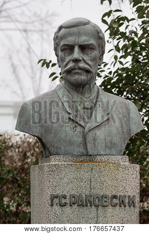 Monument to the national hero Georgi Sava Rakovski situated in the bulgarian city Burgas in the Sea Garden