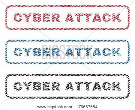 Cyber Attack text textile seal stamp watermarks. Blue, red, black fabric vectorized texture. Vector tag inside rounded rectangular banner. Rubber sticker with fiber textile structure.
