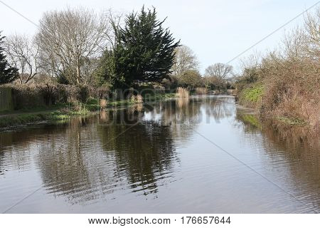 13TH MARCH 2017, CHICHESTER CANAL, SUSSEX, ENGLAND: A scenic view of the Chichester canal in Chichester, sussex,England on the 13th march 2017