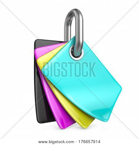 CMYK colors palette on chain link 3D render illustration isolated on white background
