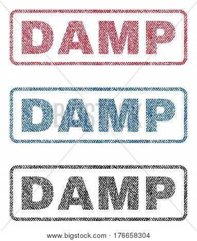Damp text textile seal stamp watermarks. Blue, red, black fabric vectorized texture. Vector tag inside rounded rectangular shape. Rubber emblem with fiber textile structure.