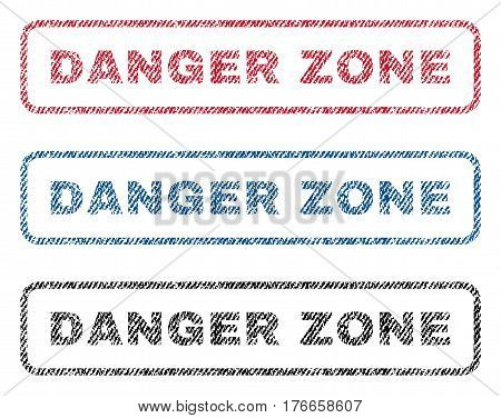 Danger Zone text textile seal stamp watermarks. Blue, red, black fabric vectorized texture. Vector caption inside rounded rectangular shape. Rubber sign with fiber textile structure.
