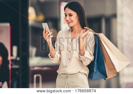 Beautiful Girl Going Shopping