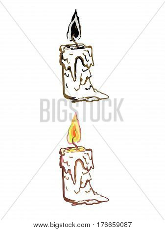 simple linear illustration of candle hand drawing