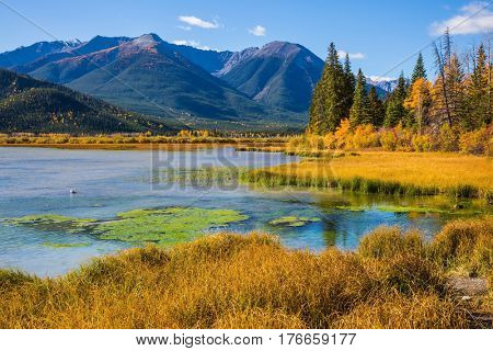 The forest, mountains and lakes. Beautiful Lake Vermilion in the mountains of Banff National Park. The Canadian province of Alberta. Concept of active tourism