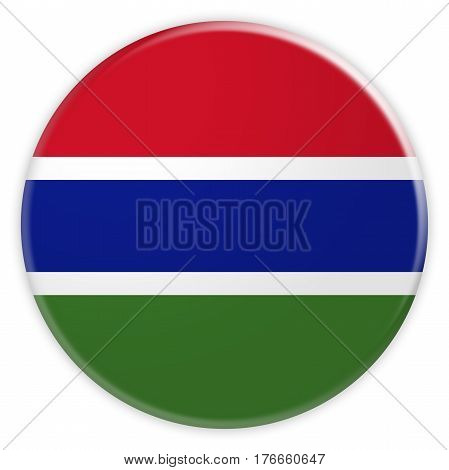 Gambia Flag Button News Concept Badge 3d illustration on white background