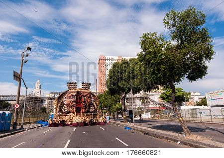 Rio de Janeiro, Brazil - March 4, 2017: Samba school vehicle parked in Presidente Vargas avenue is waiting for the parade at Sambodrome at night.