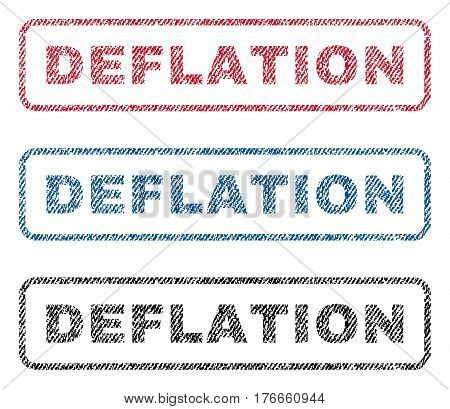 Deflation text textile seal stamp watermarks. Blue, red, black fabric vectorized texture. Vector caption inside rounded rectangular banner. Rubber emblem with fiber textile structure.