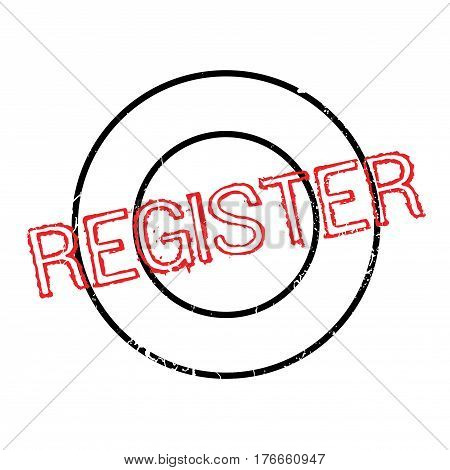 Register rubber stamp. Grunge design with dust scratches. Effects can be easily removed for a clean, crisp look. Color is easily changed.