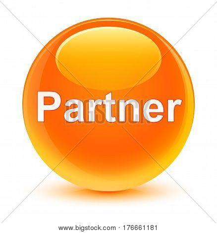 Partner Glassy Orange Round Button