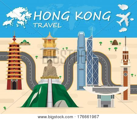 Hong Kong Landmark Global Travel And Journey Infographic Background. Vector Design Template.used For