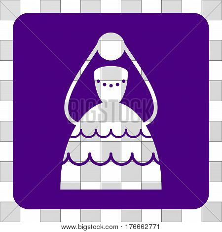 Bride rounded icon. Vector pictogram style is a flat symbol perforation inside a rounded square shape, indigo blue color.