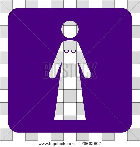 Bride rounded icon. Vector pictograph style is a flat symbol hole in a rounded square shape, indigo blue color.